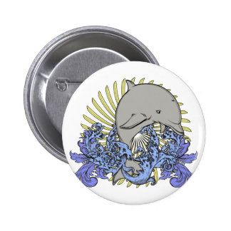 Jumping dolphin pinback buttons