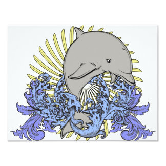 "Jumping dolphin 4.25"" x 5.5"" invitation card"