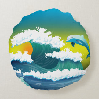 Jumping dolphin round pillow