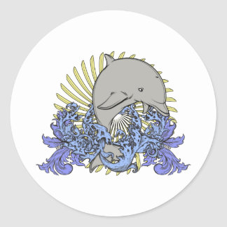Jumping dolphin round stickers