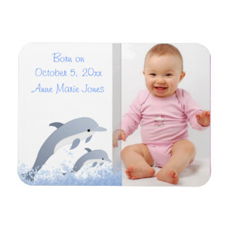 Jumping Dolphins Baby Announcement Rectangular Photo Magnet
