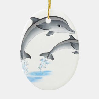 Jumping dolphins ceramic ornament