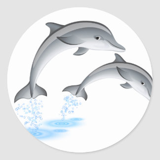 Jumping dolphins classic round sticker