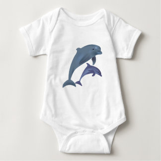 Jumping dolphins illustration baby shirt