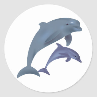 Jumping dolphins illustration classic round sticker
