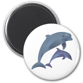 Jumping dolphins illustration magnet