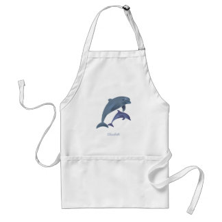 Jumping dolphins illustration name adult apron