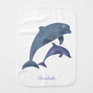 Jumping dolphins illustration name baby burp cloth