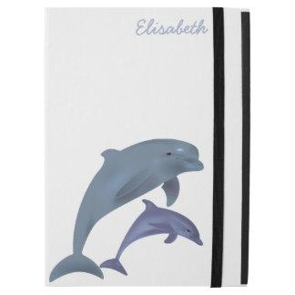 "Jumping dolphins illustration name iPad pro 12.9"" case"