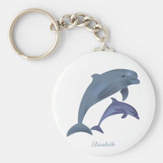 Jumping dolphins illustration name keychain