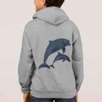 Jumping dolphins illustration name kid's hoodie