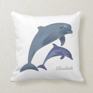 Jumping dolphins illustration name throw pillow