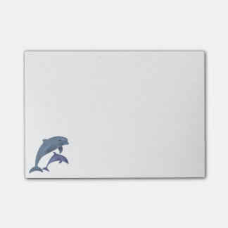 Jumping dolphins illustration post-it notes