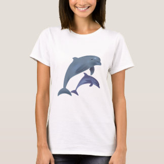 Jumping dolphins illustration shirt for woman