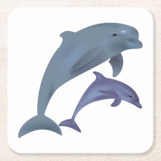 Jumping dolphins illustration square paper coaster