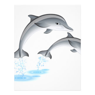 Jumping dolphins letterhead template