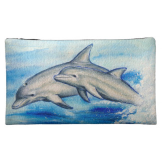Jumping dolphins makeup bag