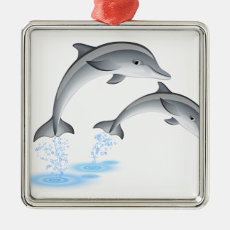 Jumping dolphins metal ornament