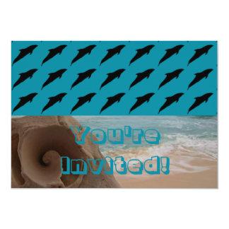 Jumping Dolphins Seashell Beach Birthday Party Card