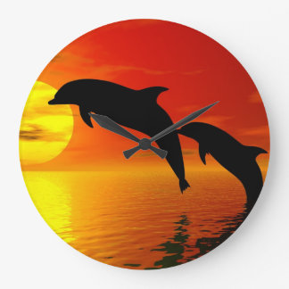 Jumping Dolphins Sunset Wall Clock