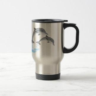 Jumping dolphins travel mug