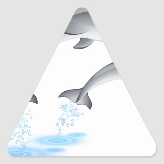 Jumping dolphins triangle sticker