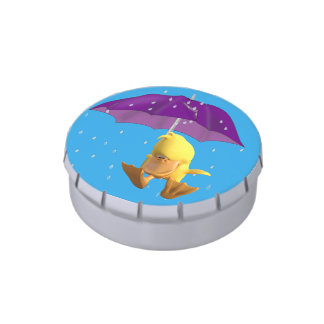 Jumping Duck Buddy in Rain Jelly Belly Candy Tin