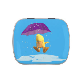 Jumping Duck Buddy in Rain Jelly Belly Tin