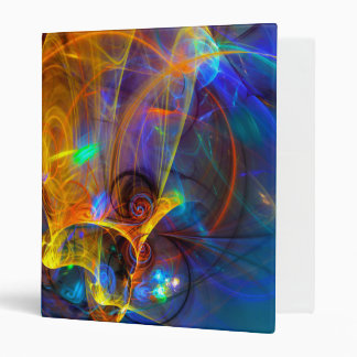 Jumping fish Sunset - colorful digital abstract ar 3 Ring Binder