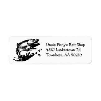 Jumping Fish Trout or Bass Return Address Label