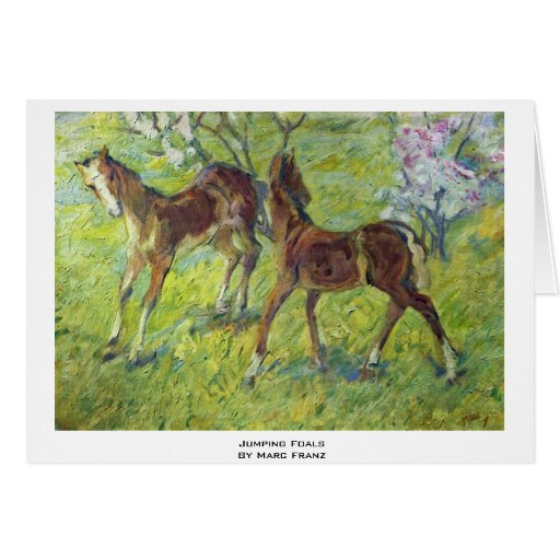 Jumping Foals By Marc Franz Greeting Card