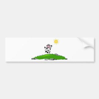 Jumping for Joy Cow on Grass Bumper Sticker