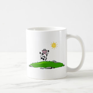 Jumping for Joy Cow on Grass Classic White Coffee Mug