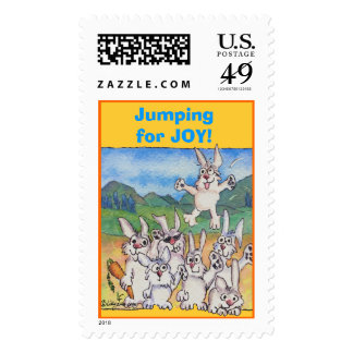 Jumping for Joy Rabbit Cartoon Custom Postage
