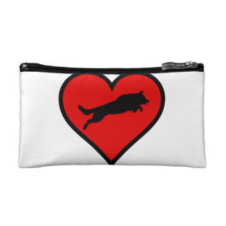 Jumping German Shepherd Heart Love Dogs Silhouette Makeup Bag