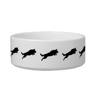 Jumping German Shepherd Silhouette Love Dogs Bowl