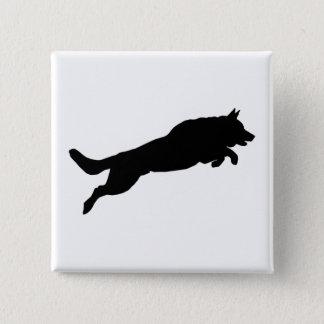 Jumping German Shepherd Silhouette Love Dogs Button
