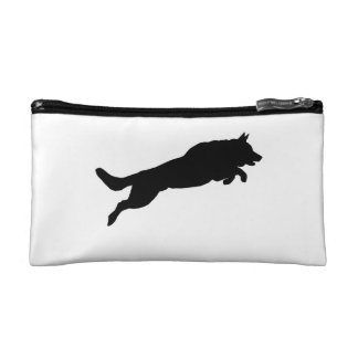 Jumping German Shepherd Silhouette Love Dogs Makeup Bag