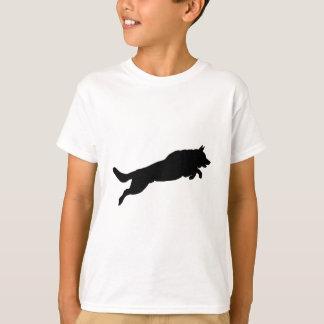Jumping German Shepherd Silhouette Love Dogs T-Shirt