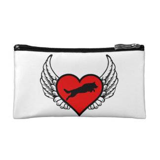 Jumping German Shepherd Winged Heart Love Dogs Cosmetic Bag