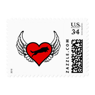 Jumping German Shepherd Winged Heart Love Dogs Postage