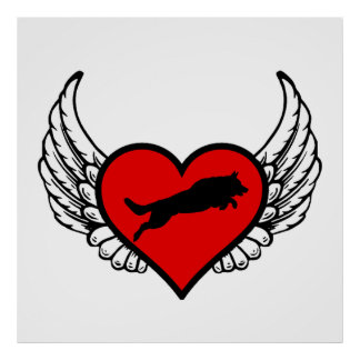 Jumping German Shepherd Winged Heart Love Dogs Poster
