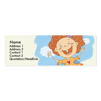 Jumping Girl Skinny Profile Cards Double-Sided Mini Business Cards (Pack Of 20)