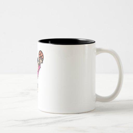 Jumping girl Two-Tone coffee mug