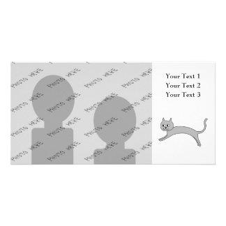 Jumping Gray Cat. Card