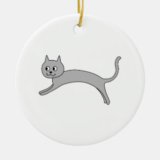 Jumping Gray Cat. Ceramic Ornament