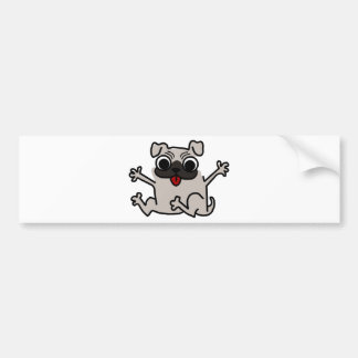 Jumping Gray/Grey Cartoon Pug Dog with Tongue Out Car Bumper Sticker