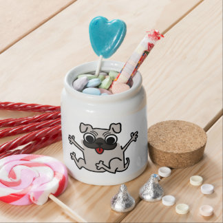 Jumping Gray/Grey Cartoon Pug Dog with Tongue Out Candy Dishes