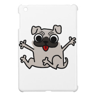 Jumping Gray/Grey Cartoon Pug Dog with Tongue Out Cover For The iPad Mini