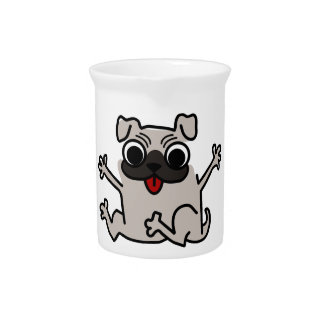 Jumping Gray/Grey Cartoon Pug Dog with Tongue Out Drink Pitchers